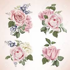 for wedding set of bouquets of roses watercolor can be used as greeting