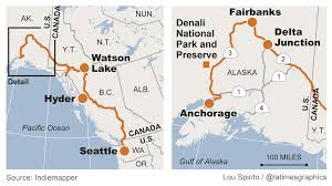 Alaska Ferry Map by Wonder Filled Trip Of A Lifetime Along The Alaska Highway La Times