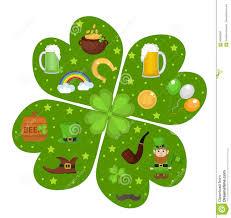 st patricks day icon set in clover shape design element