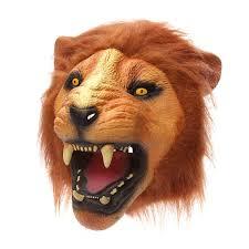 halloween wind up toys lion head mask creepy animal halloween costume theater prop latex