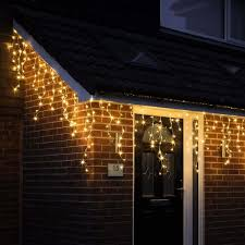 White Icicle Lights Outdoor 480 Warm White Led Snowing Icicles With Timer