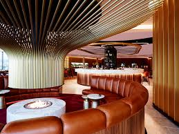 Circular Banquette Design Detail An Eye Catching Circular Fireplace Stands Out In