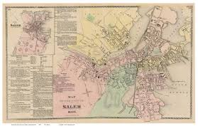 Massachusetts Map by Salem Massachusetts 1872 Old Town Map Reprint Essex Co Old Maps