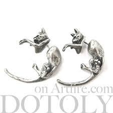 cat stud earrings 3d cat animal faux stud earrings in