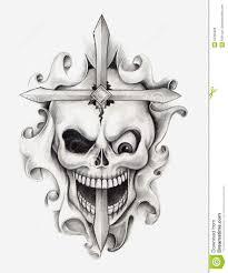 skull cross art tattoo stock illustration image 55355089