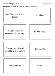 idioms u2013 word lists worksheets activities and more free