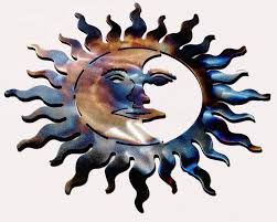 sun moon torched metal sculpture wall art home decor torches and