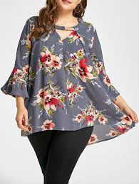 plus size blouse 2018 cut out bell sleeve floral print plus size blouse floral xl