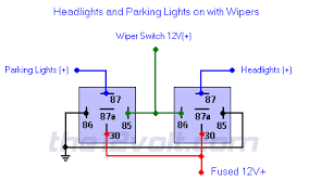 and parking lights on with wipers positive input positive output