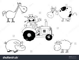 digital collage outlined farmer on tractor stock vector 60802465