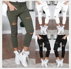 Plus Size Ripped Leggings Discount Leggings Holes Knees 2017 Leggings Holes Knees On Sale