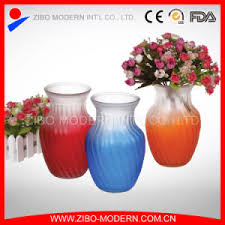 Wholesale Glass Flower Vases China Colored Glass Vases Semi Color Sprayed Cheap Colored Glass