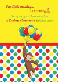 curious george birthday birthday party invitations curious george birthday