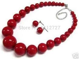 round beads necklace images Beautiful 6 14mm red imitation pearl round beads jewelry necklace jpg
