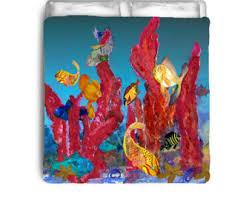 coral duvet cover etsy
