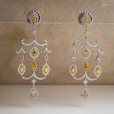 diamond chandelier earrings fancy color diamond chandelier earrings