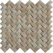Best Natural Stone Backsplash Tile Images On Pinterest - Basket weave tile backsplash
