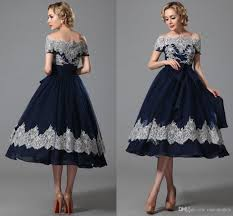 vintage tea length ball gowns navy blue prom dresses lace