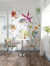 dessin mural chambre photo murale tête de lit fleurs dessin panoramique komar