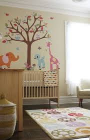 Nursery Curtains Uk by Rectangle Pattern Area Rug With Circle Plus Animal And Tree Wall