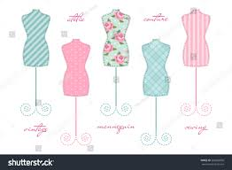 set cute vintage mannequins shabby chic stock vector 260028056