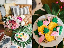 tropical inspired bridal shower with a donut wall green wedding