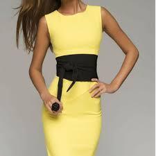 yellow pencil dress woman elegant from fashiondress8 on etsy