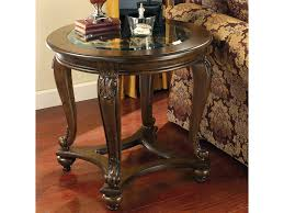 signature design by ashley norcastle round end table with glass