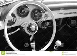 old porsche black vintage sports car rear interior editorial photography image