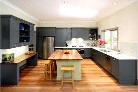 modern kitchen design with granite countertops and wooden cabinets
