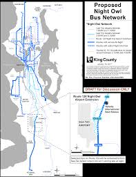 Seattle Public Transit Map by Proposed King County Metro Legislation Would Expand Late Night