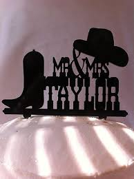 western wedding cake topper t1 rustic country western hat and boot custom name wedding