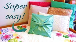 diy room decor no sew bow pillow cover youtube