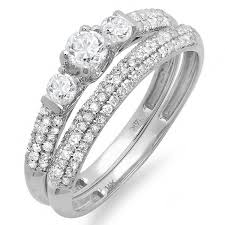 beautiful wedding ring beautiful 2 carat trilogy design wedding ring set