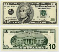 1999 10 federal reserve note ten dollar bill