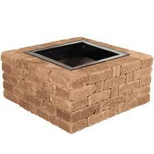 Bed Pit Pavestone Rumblestone 38 5 In X 17 5 In Square Concrete Fire Pit