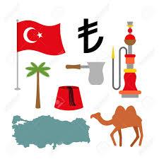 Turkey National Flag Turkey Symbol Set Turkish National Icon State Traditional Sign