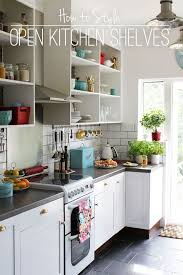 ceramic tile countertops kitchen with shelves instead of cabinets