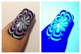 ultraviolet flower uv water marble nail art tutorial youtube