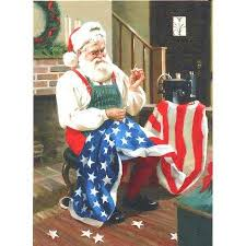 hallmark boxed christmas cards santa sewing american flag 18