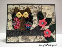 Handmade Fabric Crafts - etsygreetings handmade cards handmade fabric owl thank you card