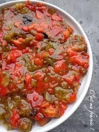cuisiner des poivrons verts la slata méchouïa 2 poivrons rouges 2 poivrons verts 4 tomates 1