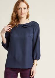 navy blouse chiffon blouse with bow detailed collar in navy modcloth