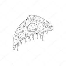 vector hand drawn sketch of pizza pepperoni with melting cheese