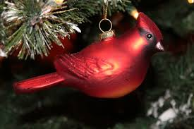 glass cardinal ornament exclusively