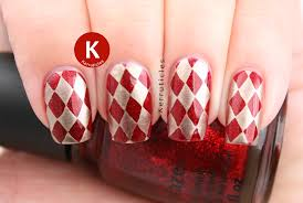 red and gold harlequin nails r is for ruby pumps kerruticles