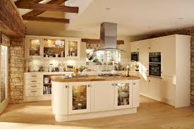 kitchen with white painted wooden maple cabinet and varnished