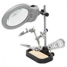 magnifier with led light helping hand magnifier led light with soldering stand audiophonics