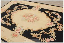 black ivory 5x8 aubusson area rug antique french decor cream pink