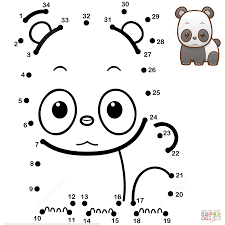 cute baby panda dot to dot free printable coloring pages